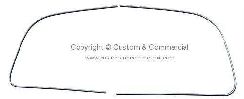 German quality chrome metal insert front window Super Beetle (non-convertibles) 73-77