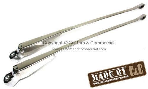 German quality chrome finished stainless steel wiper arms domed nut style Bus 8/68-72
