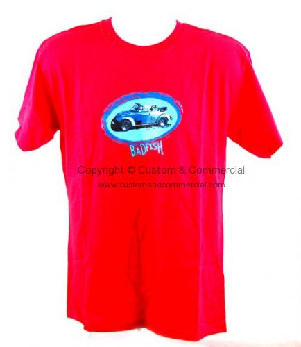 Badfish Red Blue Convert beetle T Shirt. Size Large