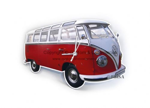 VW T1 Wall Clock, made of MDF. 28x18x2.5 cm, RED