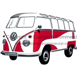 VW T1 Wall Sticker, final size 180x120 cm, SAMBA RED